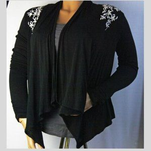 Black Open Front Waterfall Embroidered Cardigan